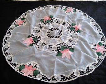 Round pink and white tablecloth, sheer battenburg lace tablecloth, applique tablecloth, shabby cottage chic, 36 inch tablecloth