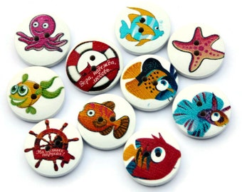 10 Sea Creatures Buttons - 20mm - Fish Buttons - Nautical Buttons - Printed Wood Buttons - Wooden Fish Button - Fun Sealife Buttons - PW229