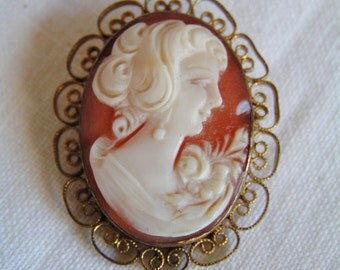 Vintage 12K Gold Filled CARLA Signed Genuine Carved Shell Cameo Pendant Pin Brooch Filigree Edge