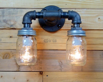 Double 1 Pint Clear Mason Jar Wall Sconce Light Black Iron Industrial Steampunk Style