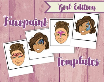 Girl Face Painting Menu - Face Paint Pick Outs - Face Painting Sign - Face Paint Templates - Face Paint Practice- Swirls
