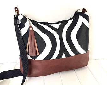 Hobo Bag, Cross Body Hobo Bag,  Leather and Fabric Hobo Bag, Black & white Fabric bag, Fabric Purse,  Slouchy Hobo Bag, Handmade Fabric Bag