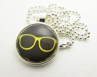 Pendant Necklace - Yellow Sunglasses Necklace - Personalized Necklace - Hand Stamped Letter Necklace