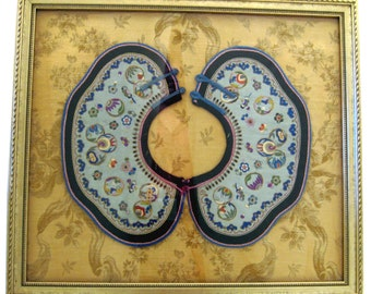 Framed antique embroidered Chinese collar