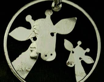 Two Giraffe pendant cut from a half dollar coin jewelry