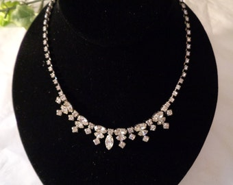 Antique La Rel Rhinestone Necklace Choker Small Neck 14 inches 1950s ERA Young Girl Prom