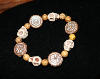 Brown gold silver skull Adult Bracelet Womens Stretchy