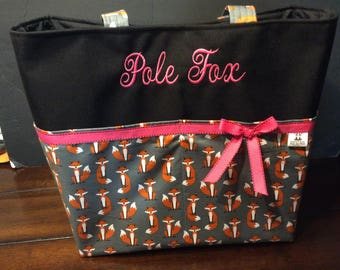 Personalized  extra large tote bag with lots of pockets made fox fabric shown in 2 different gray fox prints and a brown fox print fabric