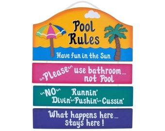 Personalized Outdoor Pool Sign - Pool Rules
