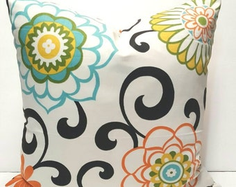 Floral Print Waverly Pom Pom Play Confetti Decorative Throw Indoor Pillow Cover with Hidden Zipper