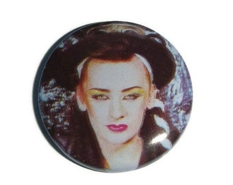 80s BOY GEORGE Pin Brooch Culture Club Pinback Button Badge Collectible Vintage 1980s NewWave Music Concert Memorabilia UNUSED New Old Stock