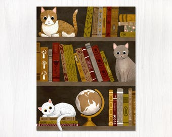 cats on bookshelf postcard
