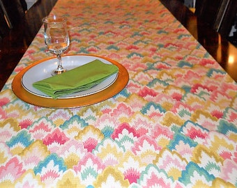 Table Linen, Table/Bed Runner, Christmas Table Cloth, Teal/Pink/Yellow, Wedding/Dining/Reception/Banquet, 16''x90'' Buffet/Dresser Scarf