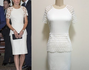 Kate Middleton Dress/ Lace Dress/ Peplum Work dress/ White dress/ shiftdress/Custom made/Custom made dress/ Premium Lace
