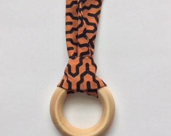 100% natural teething and breaffeeding necklace - green and peach