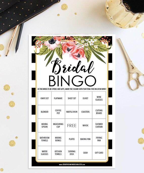 Bridal Shower Bingo Game 76 Unique Game Sheets Wedding