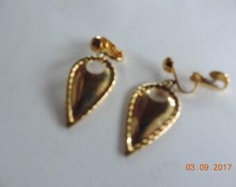 Vintage Gold Drop Clip-on Earrings