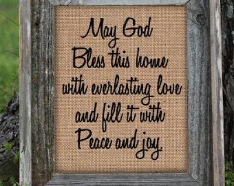 Framed Religious God Bless this House  | Burlap Print | Bible | Religious | Christian Home | Believe | Spiritual | # 171