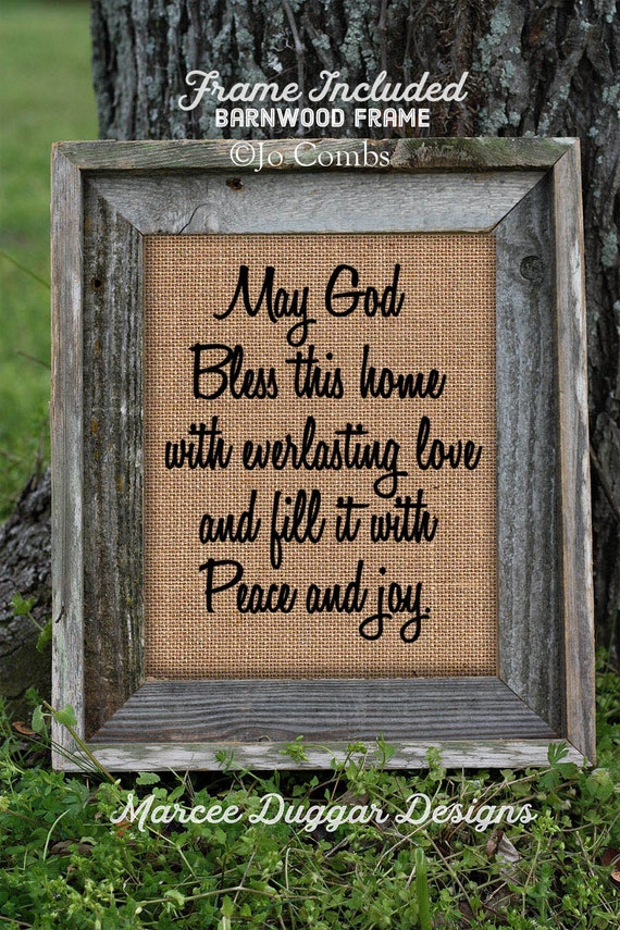 Framed Religious God Bless this House  | Burlap Print | Bible | Religious | Christian Home | Believe | Spiritual | # 171
