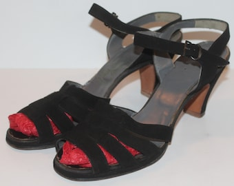 1940's Black Suede Sandals - Red Cross Shoes - Vintage - US 9.5 - 9 1/2 - UK Size 7