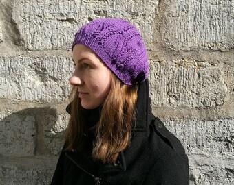 Purple light beret for women. Women's hat with leaf pattern.