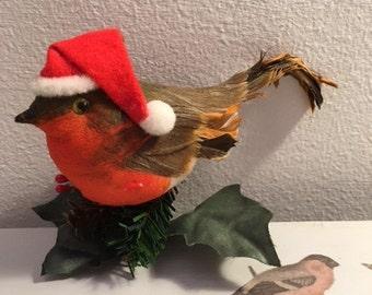 Vintage Christmas Robin with Santa Hat Tree Ornament