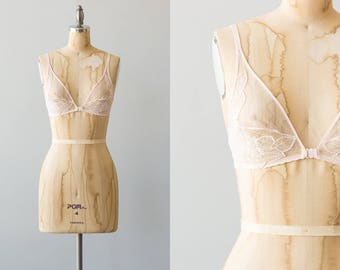 Lemon Love bralette   1970s light pink lace bra with snap front closure and adjustable straps