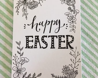 Hand-drawn Happy Easter card.