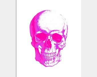 Skull Art Print - Skull Poster, Watercolor Skull Print, Hot Pink Skull Print, Skull Wall Decor
