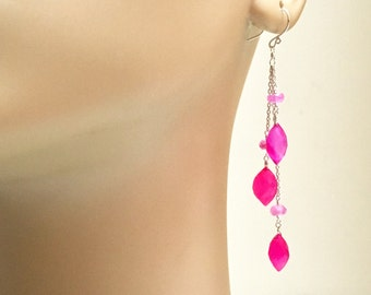 Long Fuschia Earrings, Hot Pink Earrings, Pink Semi Precious Stone Earrings, Chalcedony and Pink Moonstone Earrings