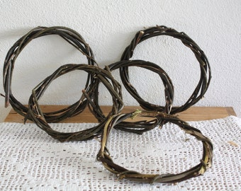 5 Willow Ring Wreaths, Art craft supplies, Handmade wreaths, Willow branches wreaths, DIY supply