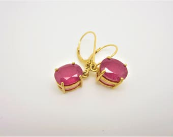 18k gold composite ruby earrings