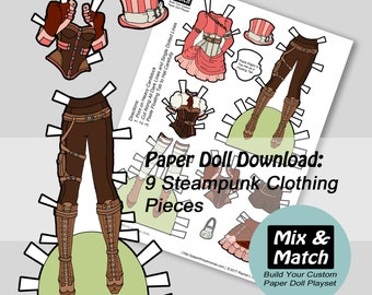 Steampunk Paper Doll- Mix & Match Digital Paper Doll Clothes- Printable Paper Doll Clothing Set- Steampunk Costume Paper Doll- Steampunk Toy