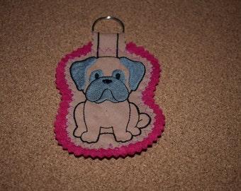 Pug Keyring, Pug Gift, Handmade Keyring, Dog Keyring, Pug Dog Keyring, Fabric Keyring, Handmade Pug Keyring, Pug, Keyring