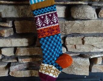Personalized Christmas Stockings, Knit Christmas Stockings, Knitted Christmas Stocking, Knit Christmas Stocking, Fuchsia Trees, Navy Plaid