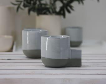 Ceramic espresso cup in gray and white.Ceramic espresso cup,Modern Espresso Cups, christmas gift guide,unique gift,Housewarming gift.