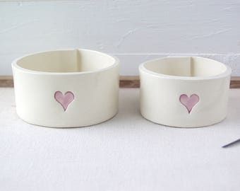 Nesting Heart Bowls.  One Pair Of Hand-Built Ceramic Dishes With Hearts.   Recycled Clay.
