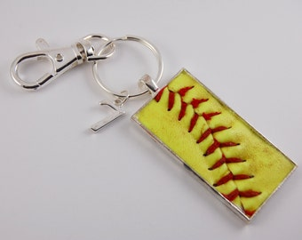 Softball Key Chain or Zipper Pull made from a real softball
