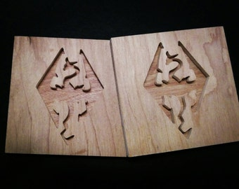 Skyrim Dragon Coasters (set of 4) - Wood Coasters - Dragon - Gamer - Nerd - Geek  - Nerd Art - Geek Art - Handmade - Fan Art - Drinkware