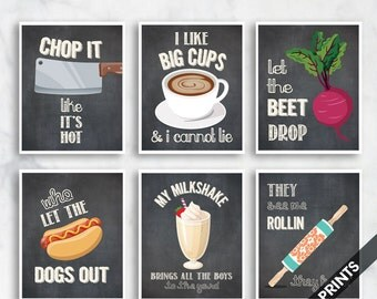 Chop it, Big Cups, Beet Drop, Dogs Out, Milkshake, Rollin (Funny Kitchen Song Series) Set 6 Art Prints (Vintage Chalkboard) Kitchen Art