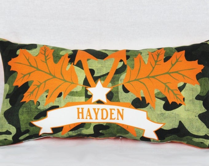 Personalized Camo Style Throw Pillow