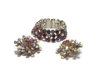 Signed Kramer Jewelry Set, Vintage 1950s 1960s AB Rhinestone Starburst Bracelet and Earrings, Costume Jewelry, Demi Parure