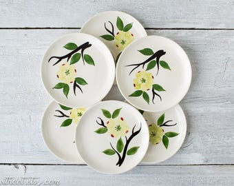 6 Vintage Floral Bread and Butter Plates - Dixie Dogwood Flower Plates - Hand Painted Dishes - Joni China