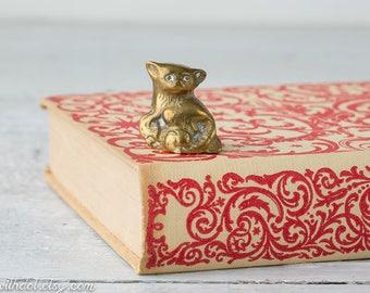 Small Brass Cat - Tiny Brass Kitten - Cat Figurine - Brass Animal - Kitten Decor