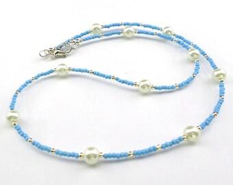 blue necklace, pastel necklace, pearl necklace, delicate necklace, cornflower blue, pale blue necklace, summer necklace