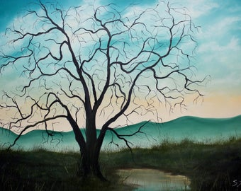 "Unframed Original ""Peaceful Oak"" Landscape Oil Painting"