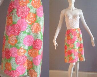 Vintage 60s Lilly Pulitzer Mod Cotton Floral Novelty Skirt ~ A Line Pop Art Flower Power Retro Mini ~ Tropical Resort Mid Century Midi ~