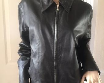 Gianni Versace Rare Vintage 90's Lambskin Black Leather Medusa Zip Pull Jacket sz M/L