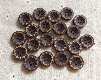Wholesale 50 Pcs  15mm Brown Wood button 4holes  (NW227)