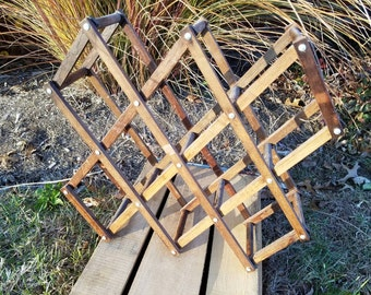 Vintage Wood Accordion Folding Wine Rack